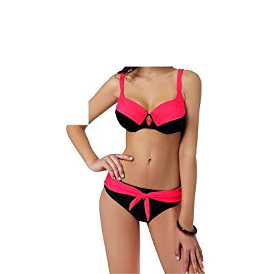 Mainstream Comfortable Fashion Women's Solid Swimwear Big Size Bowknot Bikini Padded Bra Swimsuits