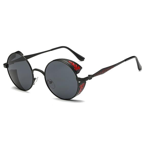 8922b1b454 Simvey Vintage Hippie Steampunk Metal Round Circle Sunglasses Side Shields  Black