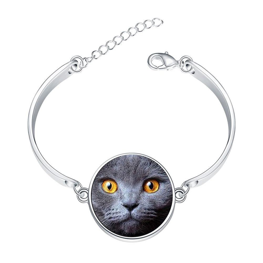 DOME-SPACE Adjustable Silver Bracelets Animal Maxi Collier Cat Glass Cabochon Hand Chain Link Bracelet Clear Bangle Custom Glass Cabochon Charm
