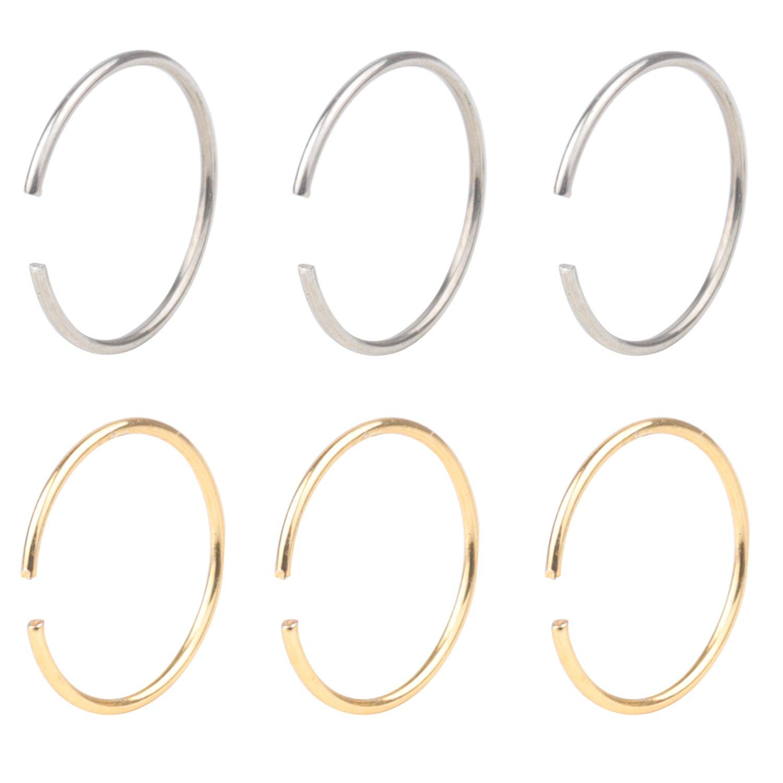 Great my shop 22G Stainless Steel Nose Ring Hoop Cartilage Hoop Septum Piercing 8mm