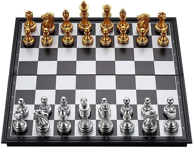BingWS Ajedrez ParchIs Juego de ajedrez Piezas de Oro Plateado Plegable Tablero Plegable magnético Juego contemporáneo Juegos de Mesa Familiares Divertidos Ajedrez (tamaño : 25 * 25CM): Amazon.es: Hogar