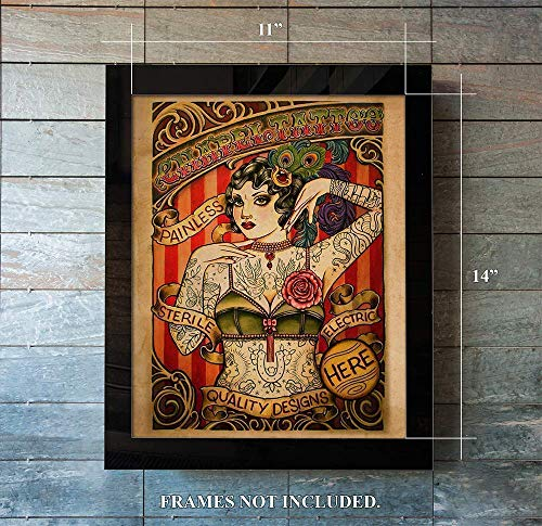 Chapel Tattoo Advertisement - Tattoo Lady 11 x 14 Unframed Print Makes a Perfect Gift for Artists