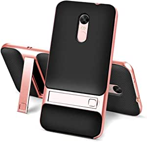 For Xiaomi Redmi Note 4X - ELEGANCE Grid Pattern TPU and PC Kickstand Combo Phone Case
