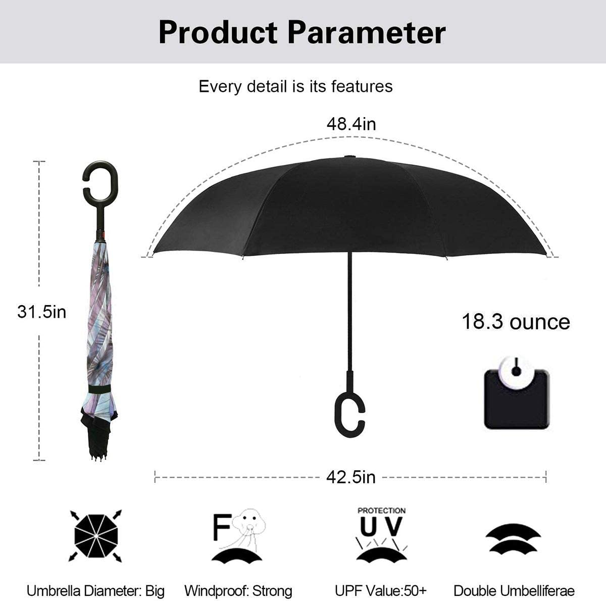 PYFXSALA Dandelion Flower Plant Windproof Inverted Umbrella Double Layer UV Protection Folding Reverse Umbrella for Car Rain Outdoor Self Stand Upside Down with C-Shaped Handle