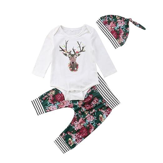 926a8412f Amazon.com  3Pcs Christmas Newborn Baby Girls Outfits