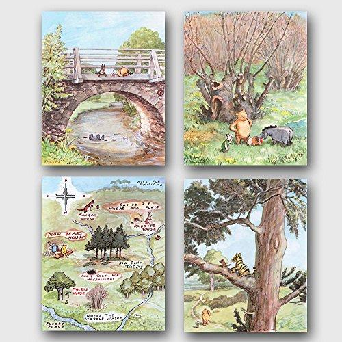 (Set of 4) Winnie the Pooh Art (Classic Nursery Wall Decor, Baby Room Prints)