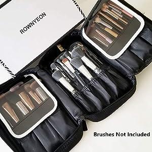 ROWNYEON Makeup Brush Bag Makeup Brush Holder Bag MakeupTravel Bag Organizer Portable Makeup Artist Case Multi function Handbag (Black)