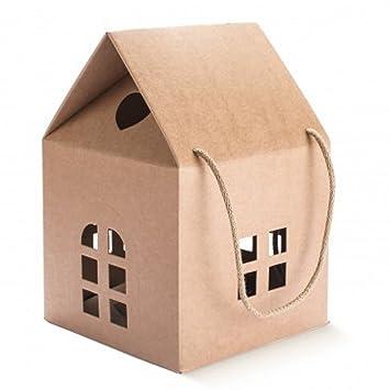 Caja casita de cartón con cuerdas, caja regalo con forma de casa Idea para regalos