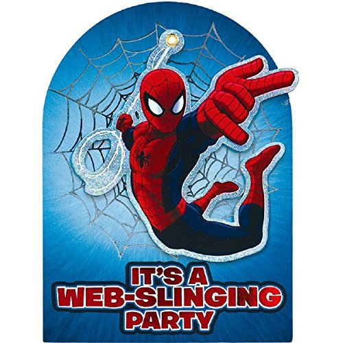 Piece 8 Party Invitations (Amscan Amazing Marvel Spider-Man Web-Slinging Party Deluxe Jumbo Postcard Invitation (8 Piece), 8