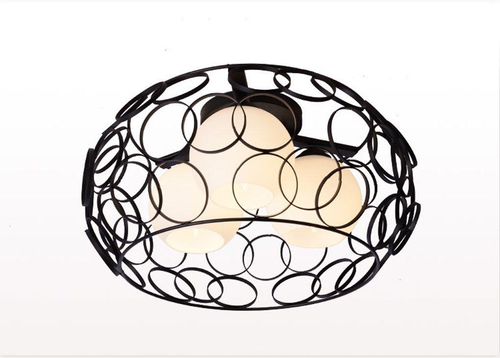 Deckenleuchten, Schlafzimmer Deckenleuchte modernes einfaches Restaurant Kreatives Eisen einfaches Schlafzimmer Lichter Europäischer Stil geformte Lichter E27 Lampenhalter (Farbe   SCHWARZ)