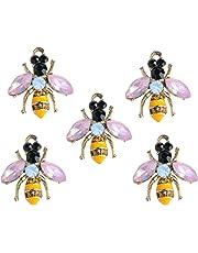 Baoblaze 5pcs HOLIDAY ORNAMENTS Gold Yellow Rhinestone Enamel Bumble Bee Charm Pendants Craft 21x24mm