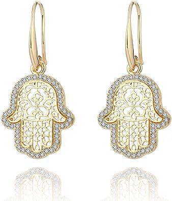 Dangle Earring for Women,Geometric Drop Earring Gold Silver Stud Stainless Steel Earring CZ Crystal