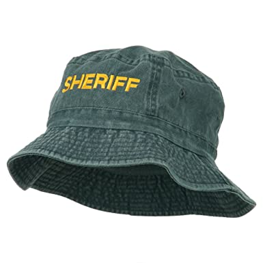 de2c1e34de7 E4hats Sheriff Embroidered Pigment Dyed Bucket Hat - Navy OSFM at ...