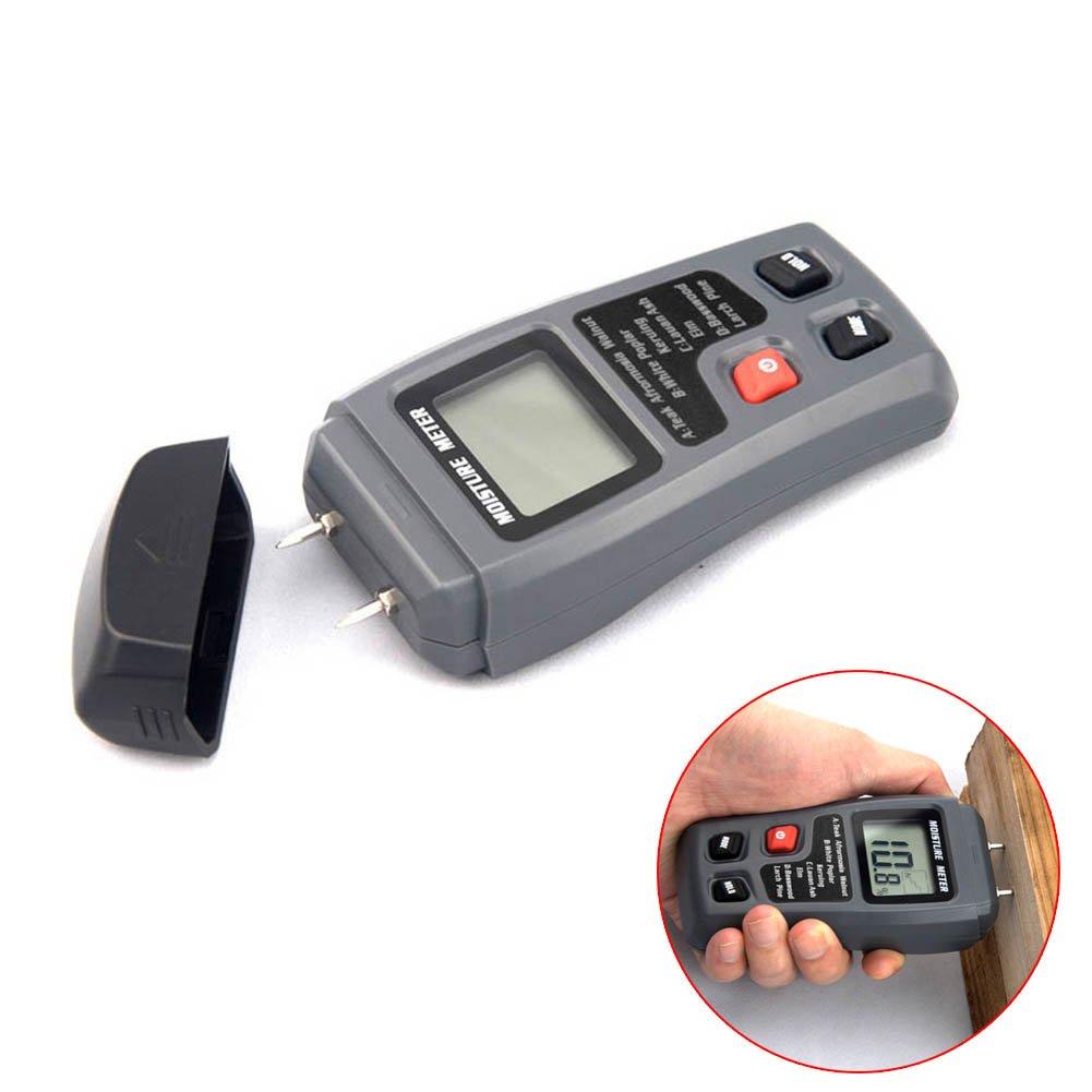 Hrph 0-99.9% Medidor de Humedad de Humedad de Madera Digital Medidor de Humedad de Madera Detector de Humedad Hygrometer 2Pins Test 103100