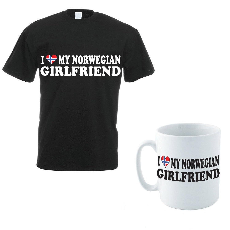I LOVE MY NORWEGIAN GIRLFRIEND - Norway / Scandinavian / Novelty Themed Men's T-Shirt and Ceramic Mug Set