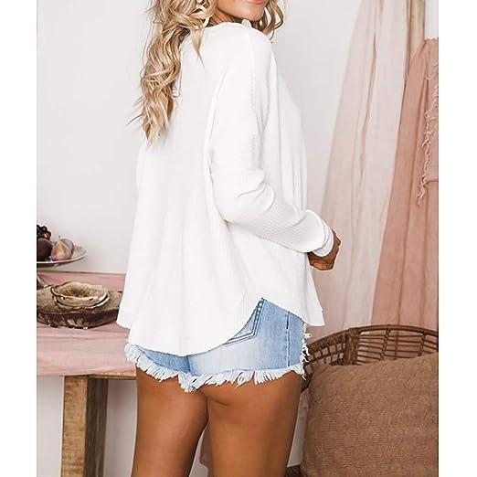 Yvelands Camisas con Botones, Blusa con túnica Suelta para Mujer Blusas sin Mangas con ala de murciélago.: Amazon.es: Ropa y accesorios