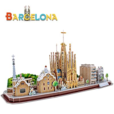 CubicFun 3D Cityline Puzzles for Barcelona Architecture Building Model Kits Collection Toys for Adults and Child, MC256h: Toys & Games
