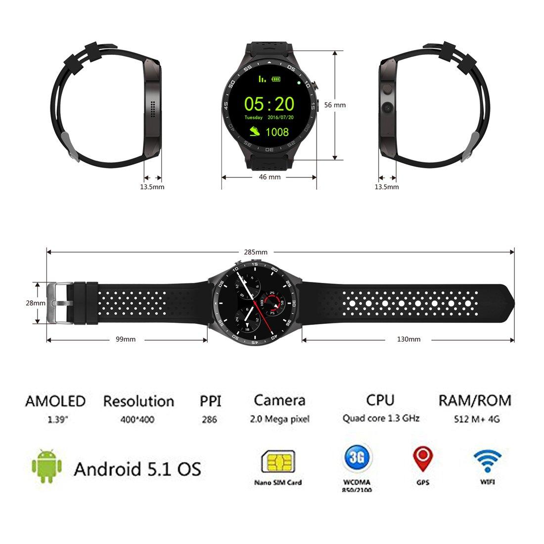3G Smart Watch, Android 5.1 OS, Quad Core 2.0MP Camera Bluetooth Nano SIM Card Soket WiFi GPS Heart Rate Monitor (Black+Silver)