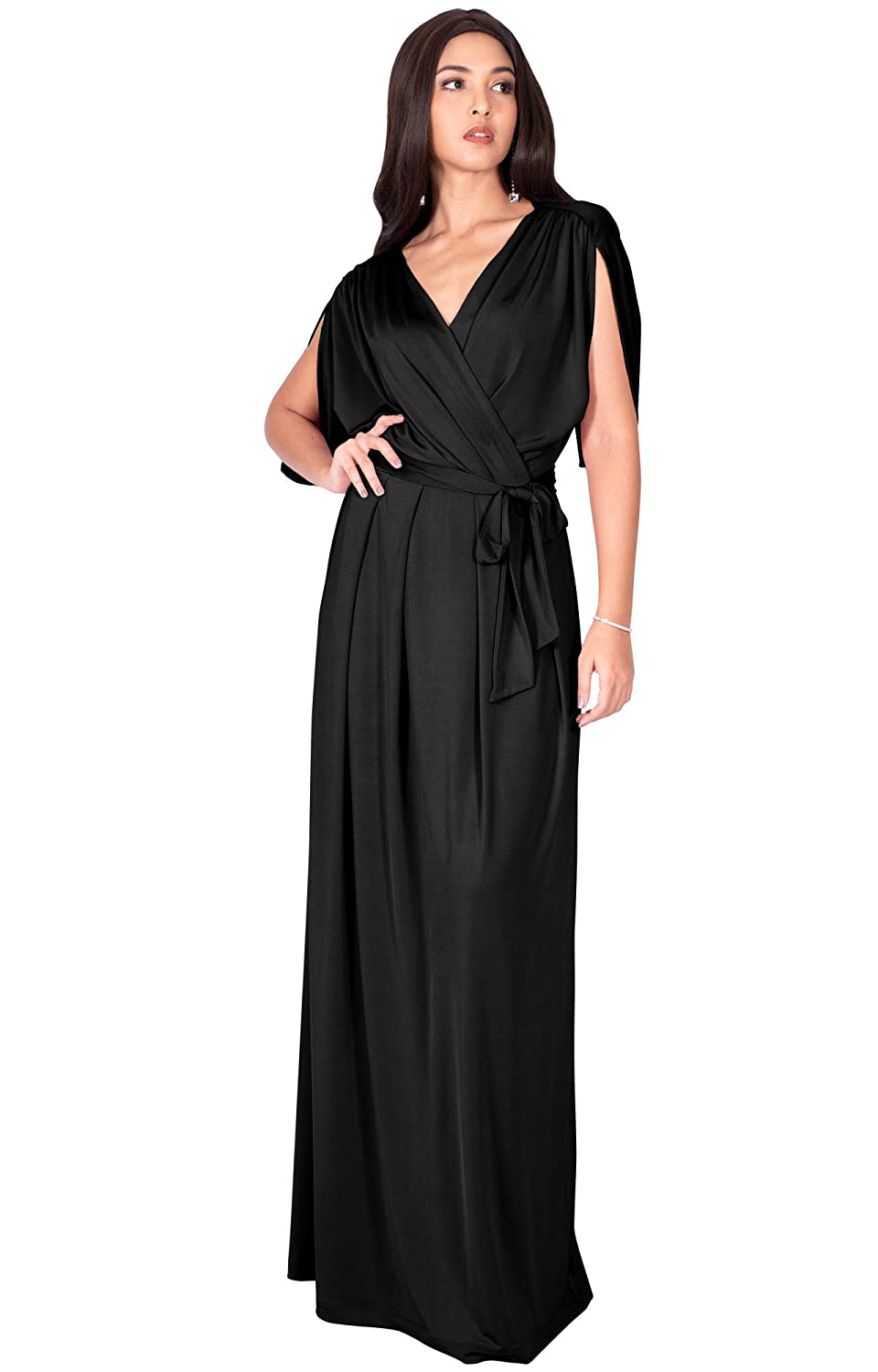 0807c501d4bd0 KOH KOH Womens Long Semi-Formal Short Sleeve V-Neck Floor Length Maxi Dress  Gown at Amazon Women s Clothing store