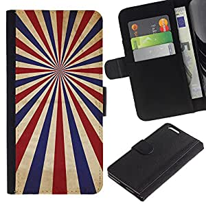 YiPhone /// Tirón de la caja Cartera de cuero con ranuras para tarjetas - PSICODÉLICA AZUL ROJO RAYAS - Apple Iphone 6 PLUS 5.5