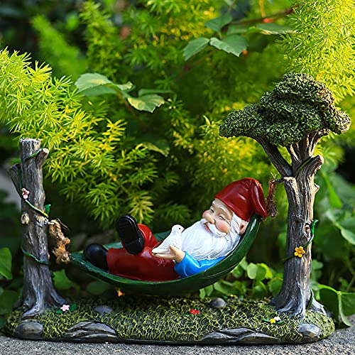 Hammocks Dwarf, Garden Creative Decoration, Resin Crafts Decoration, Home Office Decoration, Santa Doll Craft for Yard Lawn Gift Creative Outdoor Decoration