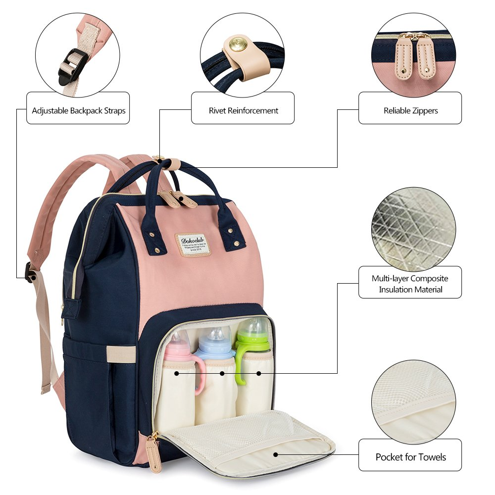 LUKATU Diaper Bag Backpack, Organizer Baby Back Pack with Insulated Pockets, Multi-Function Waterproof Anti-theft Travel Bags