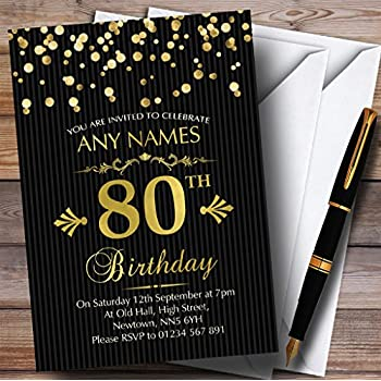 Gold Confetti Black Striped 80th Personalized Birthday Party Invitations