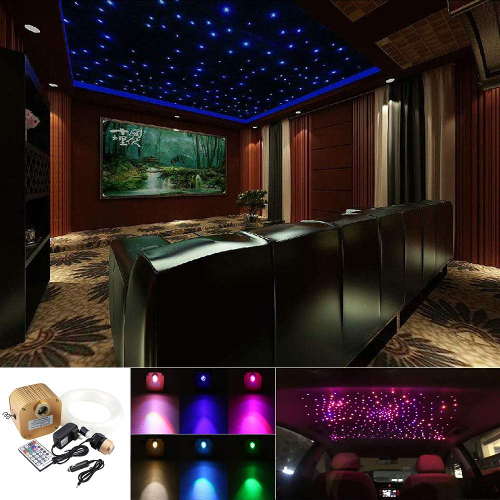 Huaxi 16W RGBW Twinkle Fiber Optic Lights Star Ceiling Light Kit Car Home Use, RGBW LED Light Engine Driver with 28key Remote and Optical Fiber Cable (0.75+1.0+1.5mm) 335pcs 13.1ft/4m + Crystal
