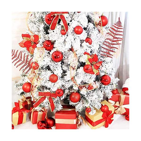 ZHOUZHOU 24 Pezzi 4cm Palle di Natale,Palline di Natale,Albero di Natale Palla Decorazioni,Palle Albero di Natale,Ornamenti di Palla di Natale,Natalizie Plastica Palle (Rosso) 3 spesavip
