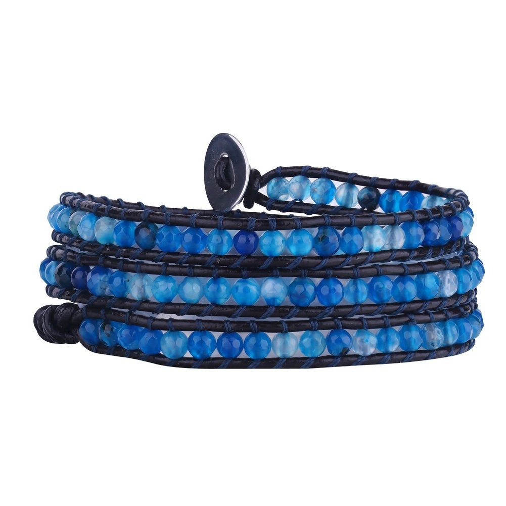 Babao Jewelry Blue Faceted Cut Agate Bead Genuine Leather 3 Wraps Bracelets 4mm Bead