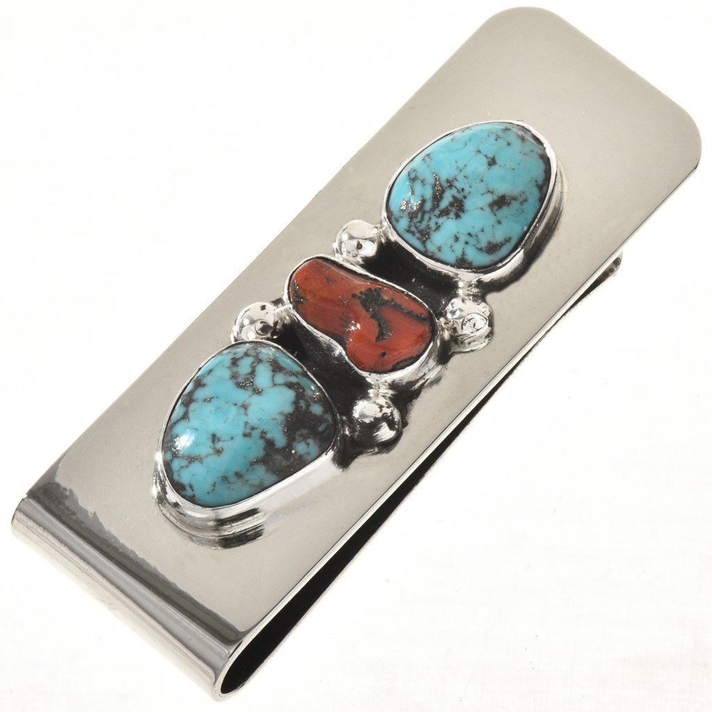 Turquoise Coral Navajo Money Clip Soutwest Silver Design