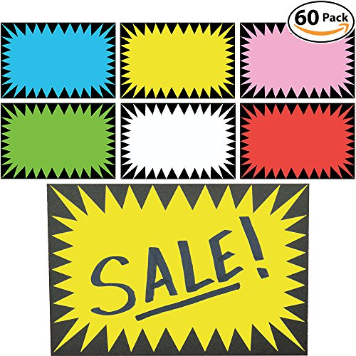 Discount Retail Genius Price Burst Sign Pack. Boost Sales with Bright Display Tags. Durable, Easy Write