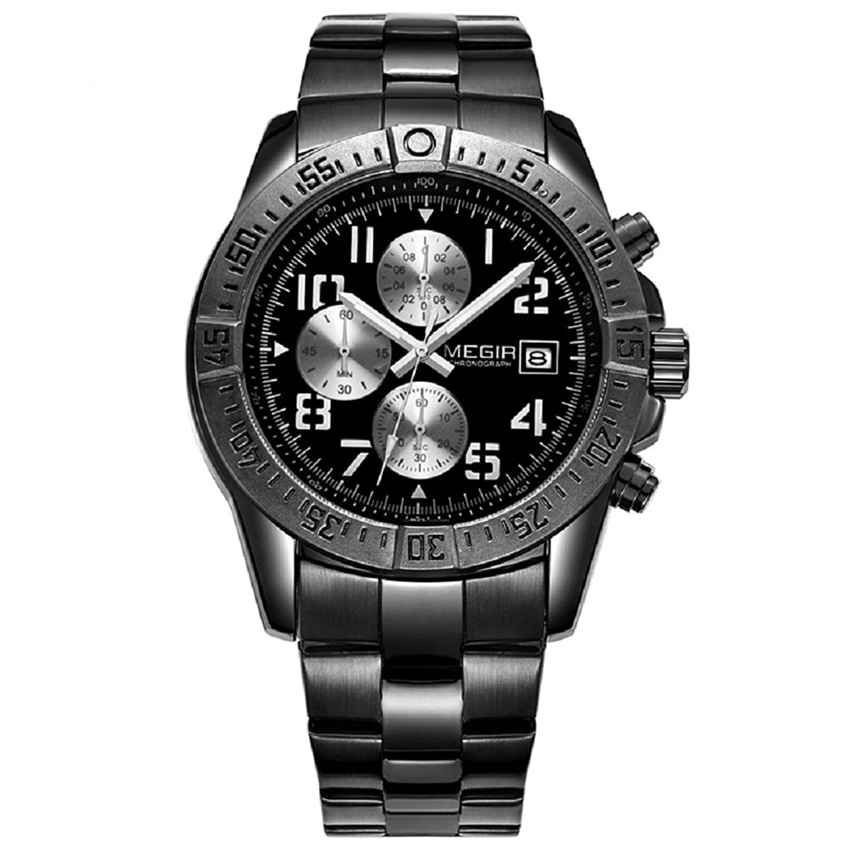 Herren Chronograph Edelstahl Quarz Uhren Stecker Fashion Wasserdicht Luminous runden Zifferblatt Sport Armbanduhren