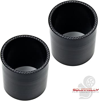 """2.5/""""-2.5/"""" Straight Silicone Hose Coupler 63mm Intercooler Pipe Black 4PCS"""