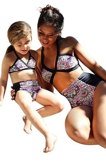 Sunbona Mom&Me Little Girls Matching Swimwear Floral Straps Swimsuit Two  Piece Bathing Bikini Beachwear Set ( 3ae0de4702