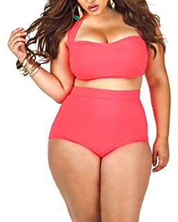 2d3cd9bde88 Lalagen Women's High Waist Halter Bandeau 2 Piece Plus Size Bikini Swimsuit