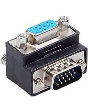 Unicoco - Adattatore VGA - SVGA, ad angolo di 90gradi, da maschio a femmina