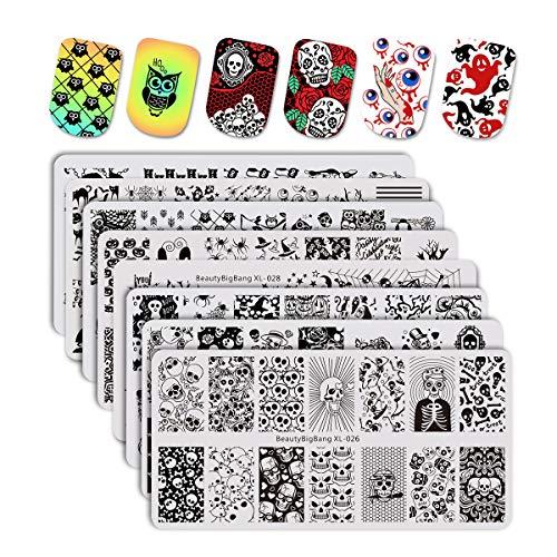 BEAUTYBIGBANG 8pcs Stamping Plates Christmas Nail Stamping Kits