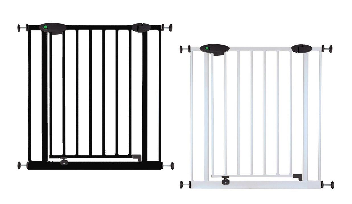 Impag Türschutzgitter Treppenschutzgitter mit Ampelfunktion 73 - 222 cm zum Klemmen Traffic Light + 70 + 70 Schwarz