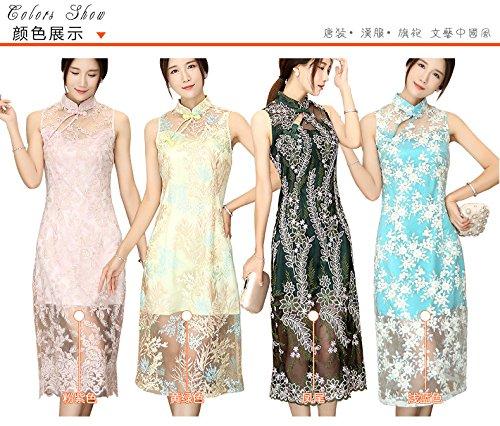 Chinesische Qipao Dress Damen Cheongsam Blumen Hellgelb ACVIP Stickerei Spitze YAnZwpq