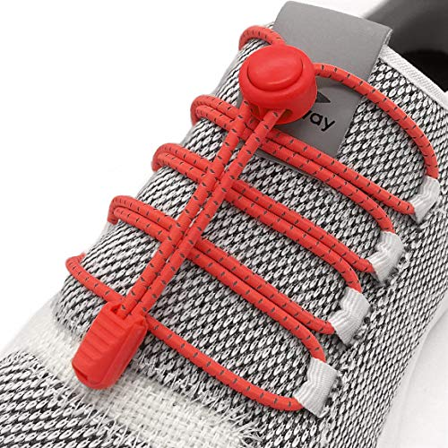 Elastic No Tie Shoelaces - No Tie Laces With Reflective String for Sneakers (Red)