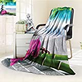 YOYI-HOME Luxury Warm Fuzzy Weighted Bed Duplex Printed Blanket Spa Decor Sand Orchid and Massage Stones in Zen Garden Sunny Day Meditation Camping Blanket /W79 x H47