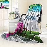 YOYI-HOME Warm Microfiber All Season Duplex Printed Blanket Spa Decor Sand Orchid and Massage Stones in Zen Garden Sunny Day Meditation Print Artwork Image /W47 x H69