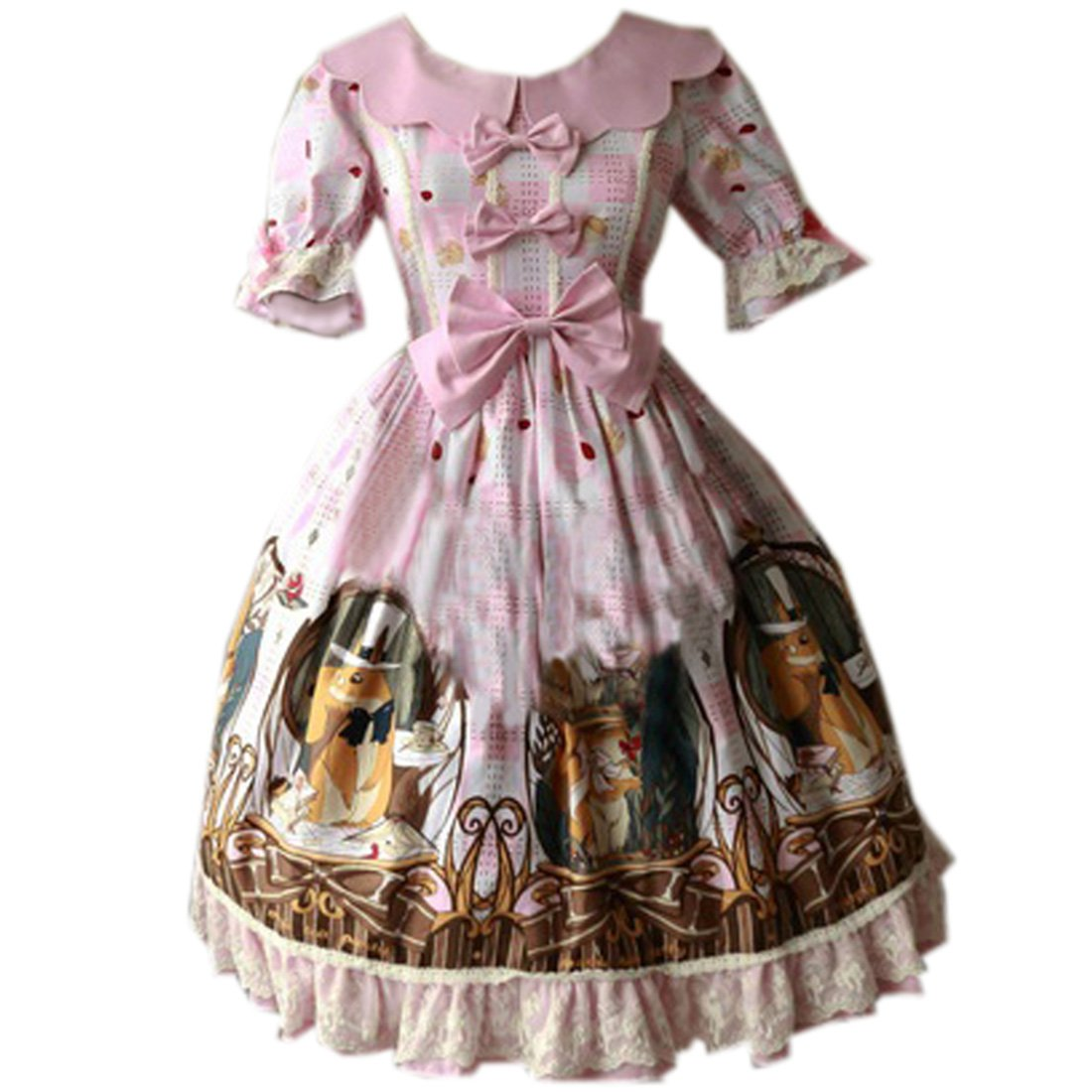 Partiss Womens Classic Cute Squirrel Printed Sweet Lolita Dress Summer Bowknots, L, Light Pink