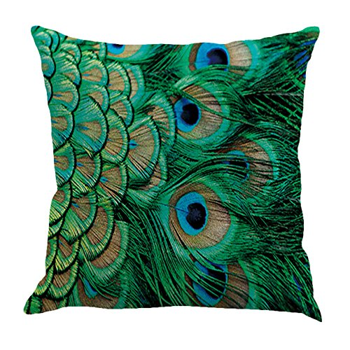 Qinqingo Colorful Peacock Feather Throw Pillow Case Cushion Cover Home Sofa Decor Pillowcases (Set of 4)