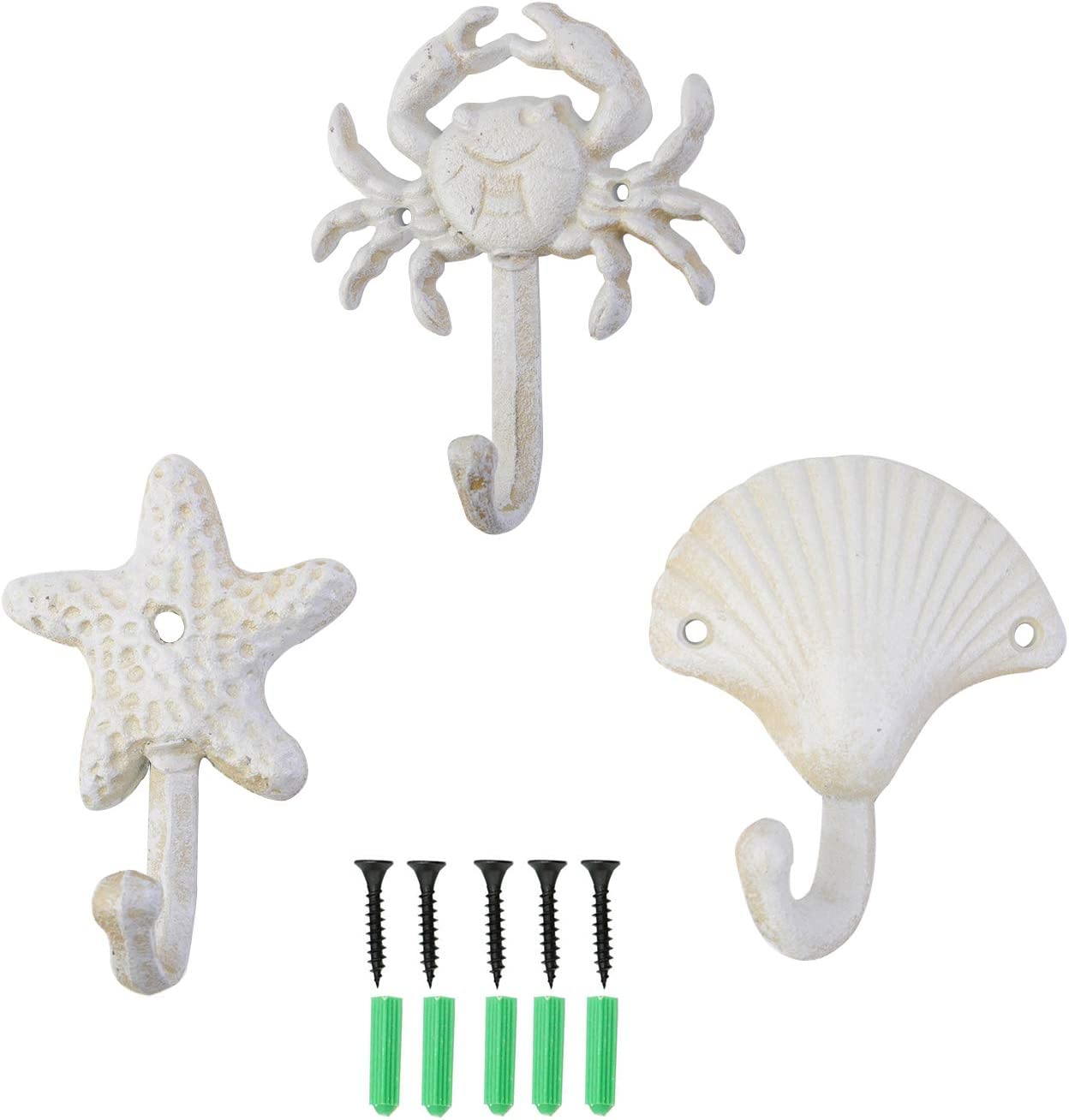 ZILucky Set of 3 Starfish Seashell Crab Cast Iron Decorative Wall Hooks Coats Aprons Hats Towels Hooks Beach Ocean Theme Chic Metal Hooks (White)