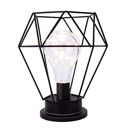 Amazon.com: Lewondr lámpara de mesa de metal Edison lámpara ...