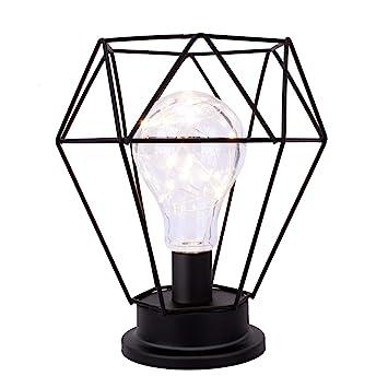 Lewondr Lámpara de Escritorio, Edison Bombilla Lámpara de Mesa de ...