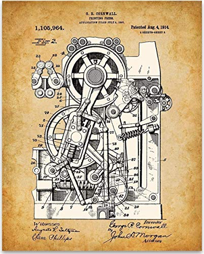 Printing Press - 11x14 Unframed Patent Print - Great Room Decor or Gift Under $15 for - Newsprint Poster