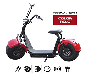o Patinete e- Scooter. Patín Unisex (rojo, 1000 W): Amazon ...